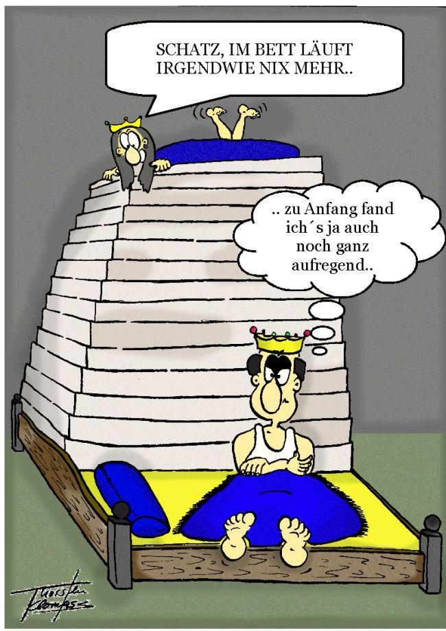 Prinzessin auf der erbse bett  Comics von Thorsten Klomfass, Teil 19: Prinzessin auf der Erbse