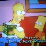 Bild von Homer wie er Bart etwas aus MAD vorliest