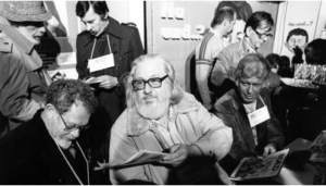 Der MAD Gründer Bill Gaines u.a. mit Al Jaffee, Don Martin und Herbert Feuerstein